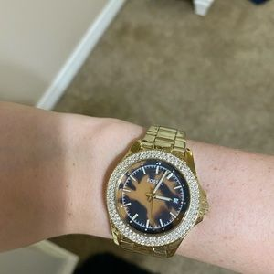 Gold & Tortoise Fossil Watch